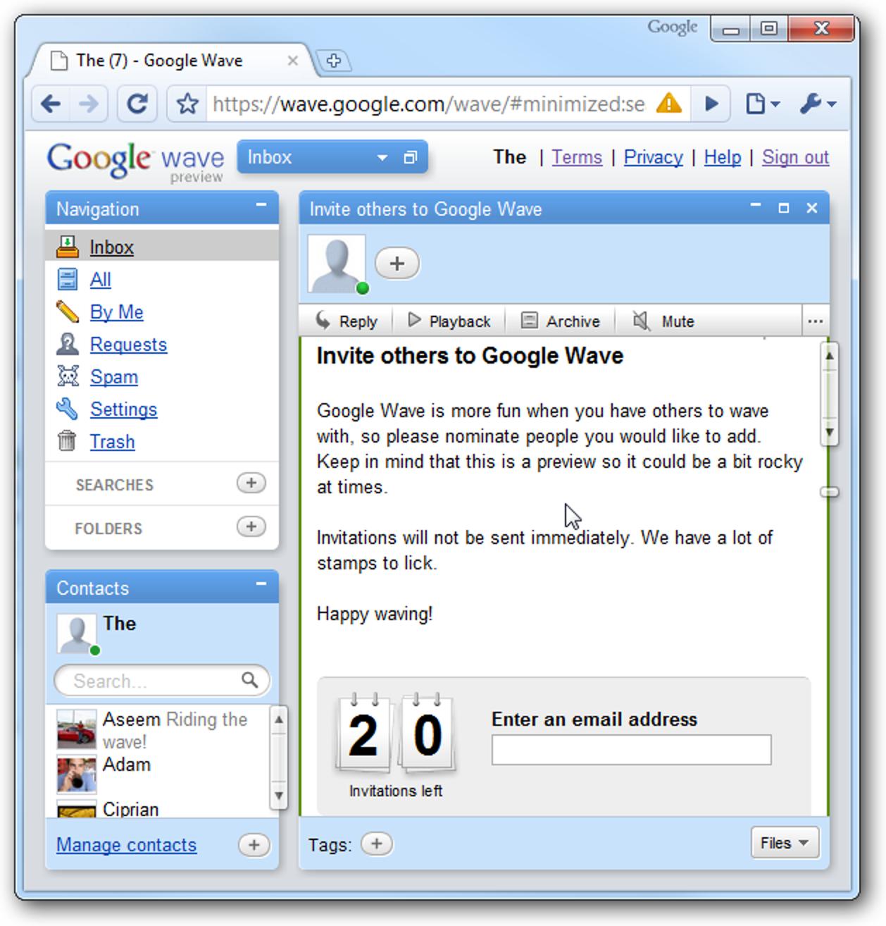 Wir haben 20 Google Wave-Einladungen.  Möchte eins?
