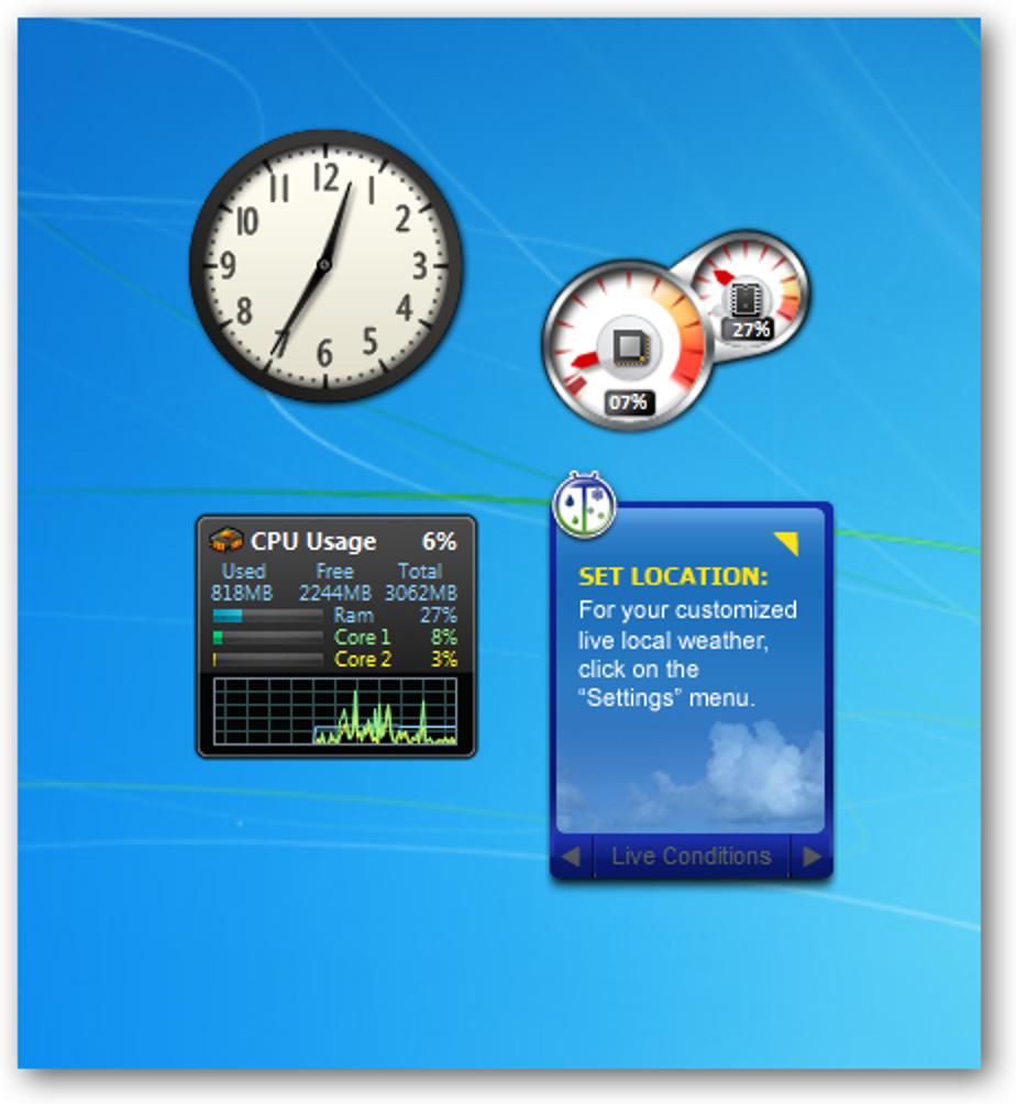 Deaktivieren Sie vom Benutzer installierte Desktop-Gadgets in Windows 7