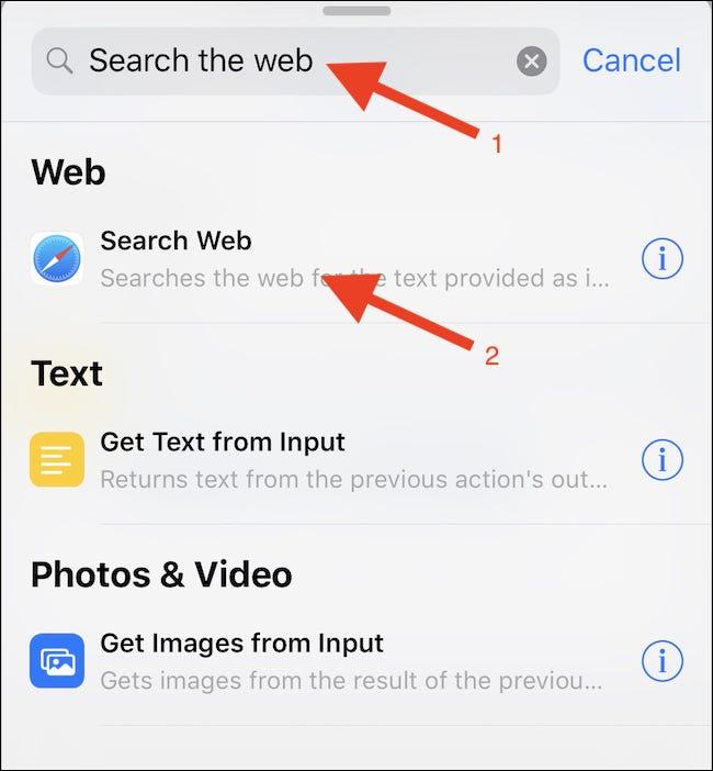 """Suche nach a """"Web durchsuchen"""" Aktion und tippen Sie darauf."""