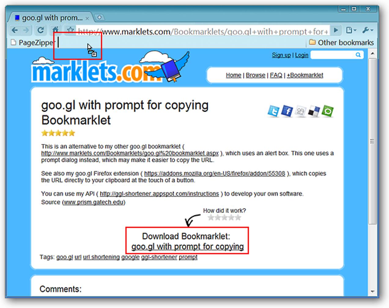 Erstellen Sie verkürzte goo.gl-URLs in Ihrem Lieblingsbrowser
