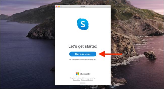 """Klicken """"Anmelden oder erstellen"""" um sich bei Skype anzumelden."""