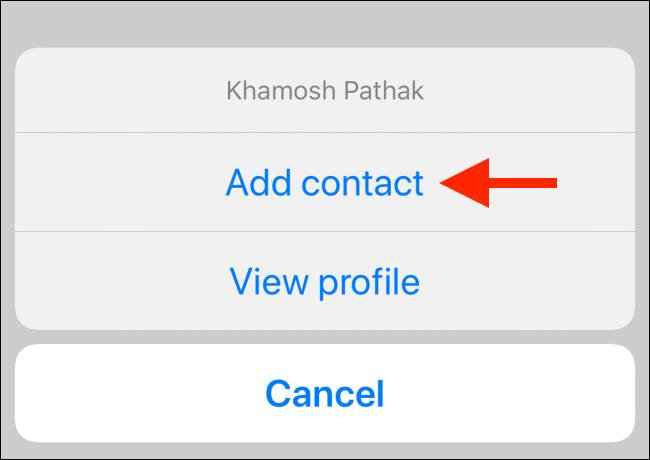 """Wählen """"Kontakt hinzufügen."""""""