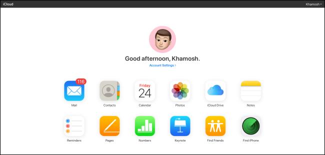 Die iCloud-Website.
