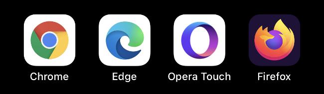 Die Symbole Chrome, Edge, Opera Touch und Firefox.