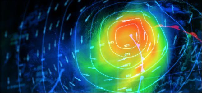 3D-Rendering einer Wetterkarte