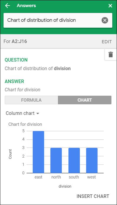 """Ein Säulendiagramm mit den Umsätzen nach Geschäftsbereichen in der """"Antworten"""" Abschnitt von Explore."""