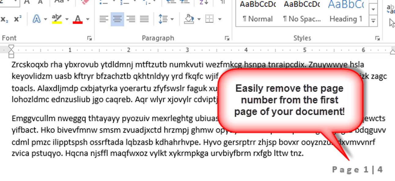 So lassen Sie die Seitenzahl von der ersten Seite eines Word 2013-Dokuments weg, ohne Abschnitte zu verwenden