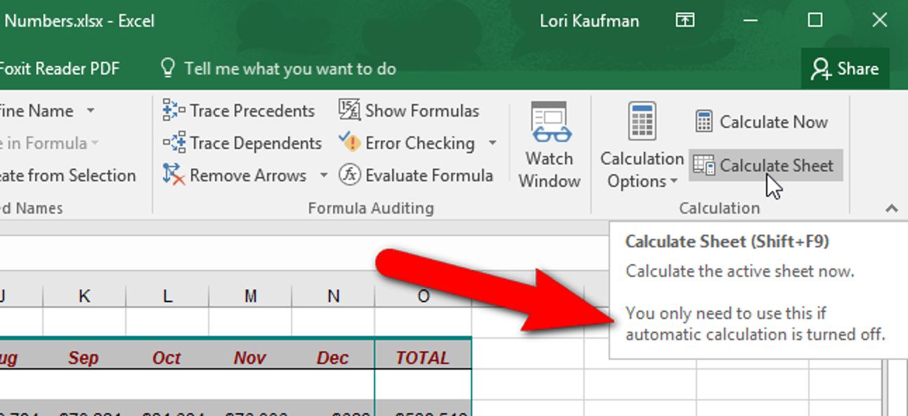 Manuelles Berechnen nur des aktiven Arbeitsblatts in Excel