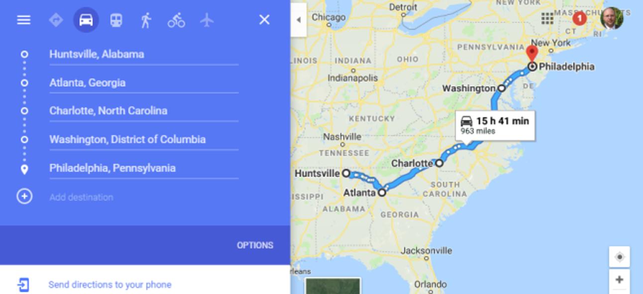 So planen Sie einen Roadtrip mit mehreren Zielen in Google Maps