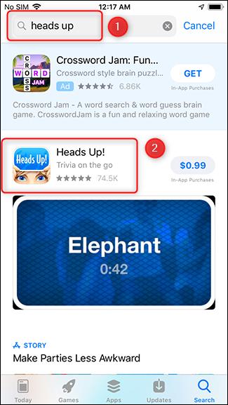 Suchen Sie nach der App, die Sie geben möchten.