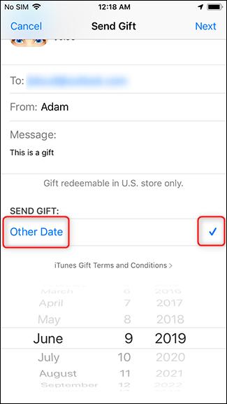 Ändern Sie das Datum, an dem das Geschenk geliefert wird