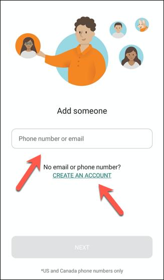 """Geben Sie die E-Mail-Adresse oder Telefonnummer einer Person ein, um sie zur Microsoft Family Safety-App einzuladen, und tippen Sie auf """"Ein Konto erstellen"""" um ein Microsoft-Konto für jeden zu erstellen, der kein Konto hat."""