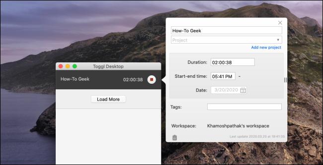 """Das """"Toggl Desktop"""" auf einem Mac."""