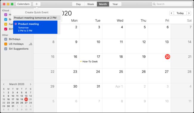 """Das """"Schnelles Ereignis erstellen"""" Option in der """"Kalender"""" App."""