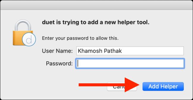 """Geben Sie Ihr Passwort ein und klicken Sie dann auf """"Helfer hinzufügen."""""""