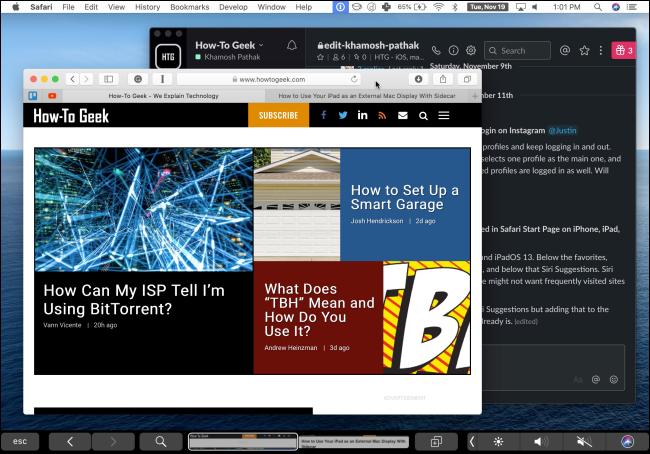 Ein iPad, das Duet verwendet, um den Bildschirm eines Mac anzuzeigen.
