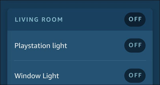 Alexa App zeigt zwei Lichter namens Playstation Light und Window Light