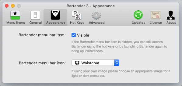 """Die Optionen im Barkeeper """"Aussehen"""" Tab."""