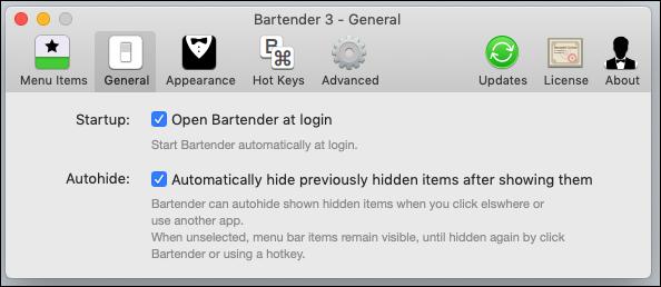 """Optionen im Barkeeper """"Allgemeines"""" Tab."""