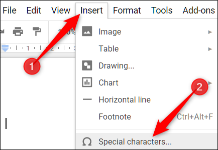 """Klicken Sie auf Einfügen> Sonderzeichen, um das Werkzeug zum Einfügen von Symbolen zu öffnen."""" width=""""434″ height=""""300″ onload=""""pagespeed.lazyLoadImages.loadIfVisibleAndMaybeBeacon(this);"""" onerror=""""this.onerror=null;pagespeed.lazyLoadImages.loadIfVisibleAndMaybeBeacon(this);""""/></p> <p>Wenn das Dialogfeld """"Sonderzeichen"""" geöffnet wird, klicken Sie auf das Dropdown-Feld rechts und klicken Sie in der Auswahlliste auf """"Hochgestellt"""".</p> <p><img class="""