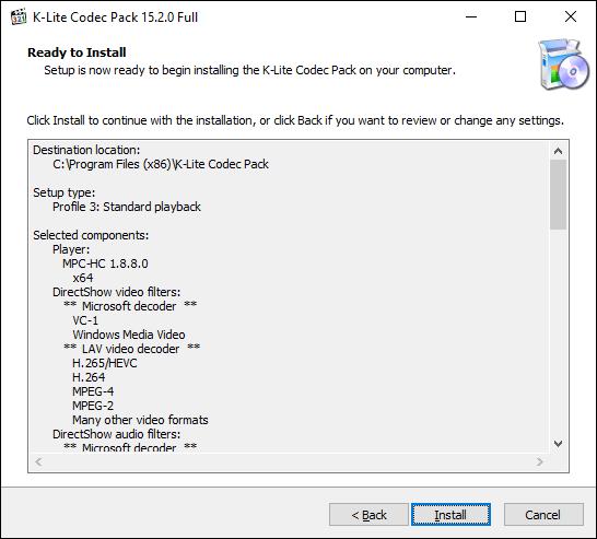 Klicken Sie auf Installieren, um die Installation des K-Lite Codec Pack zu starten