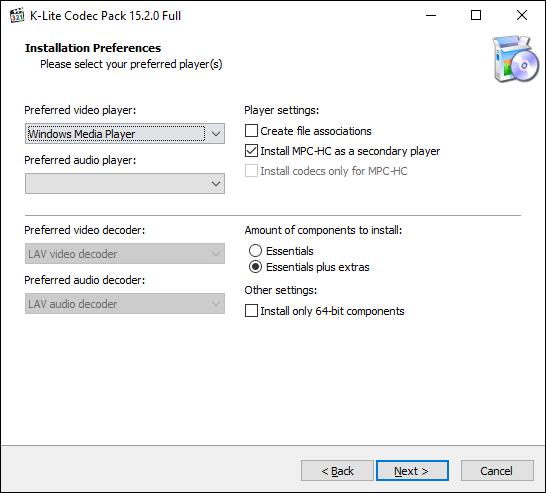 Wählen Sie im K-Lite-Installationsprogramm Ihren bevorzugten Videoplayer aus und klicken Sie auf Weiter
