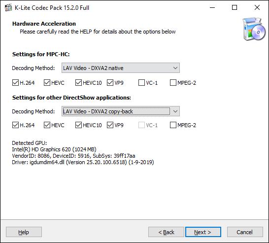 Bestätigen Sie die Hardwarebeschleunigungsoptionen für K-Lite Media Player Classic und klicken Sie dann auf Weiter