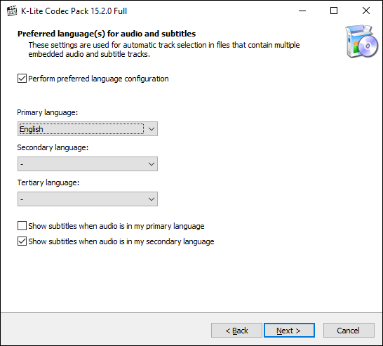 Wählen Sie Ihre Sprachoptionen im K-Lite-Installationsprogramm aus und klicken Sie auf Weiter