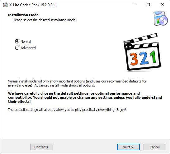 Öffnen Sie das K-Lite-Codec-Installationsprogramm, wählen Sie Ihren Installationsmodus aus und klicken Sie auf Weiter