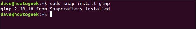 """EIN """"gimp 2.10.18 von Snapcrafters installiert"""" Nachricht in einem Terminalfenster."""