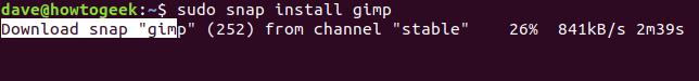 """Das """"sudo snap gimp installieren"""" Befehl in einem Terminalfenster."""
