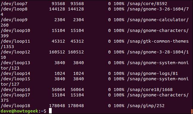 SquashFS-Dateisysteme, die in einem Terminalfenster aufgelistet sind.