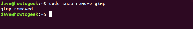 """Das """"Sudo Snap Gimp entfernen"""" Befehl in einem Terminalfenster."""