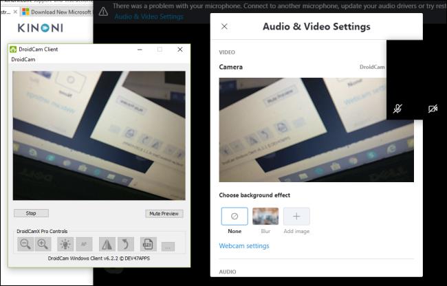 Der DroidCam-Client zeigt eine Vorschau der Kamera eines Android-Telefons an.