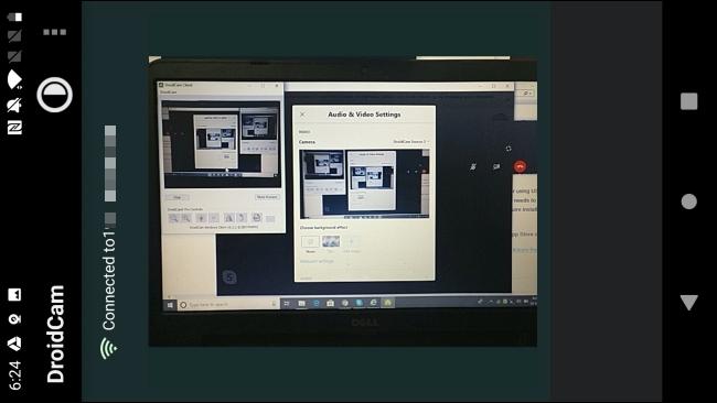 Ein Android-Telefon, das unter Windows 10 in der DroidCam-App als Webcam verwendet wird.