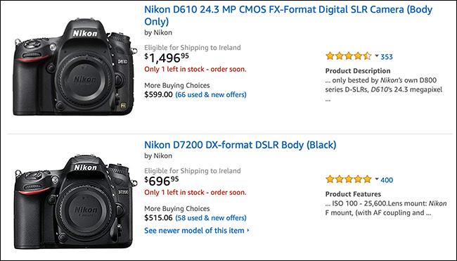 Amazon-Liste mit Nikon-Kameragehäusen