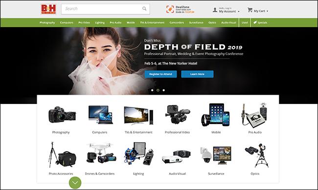 B & H Foto-Homepage