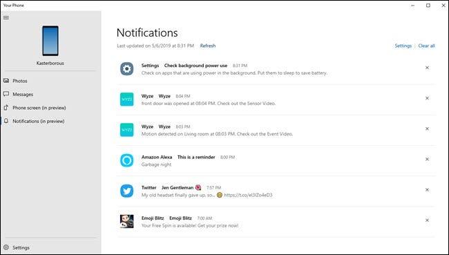Ihre Telefon-PC-App zeigt verschiedene Benachrichtigungen von Wyze, Alexa, Android-Einstellungen und Twitter an.