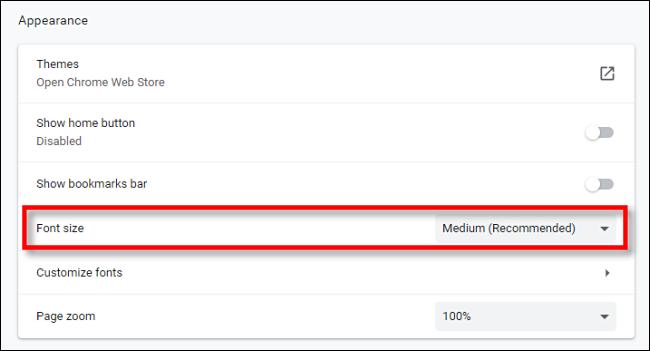 Suchen Sie die Option Schriftgröße in den Chrome-Einstellungen