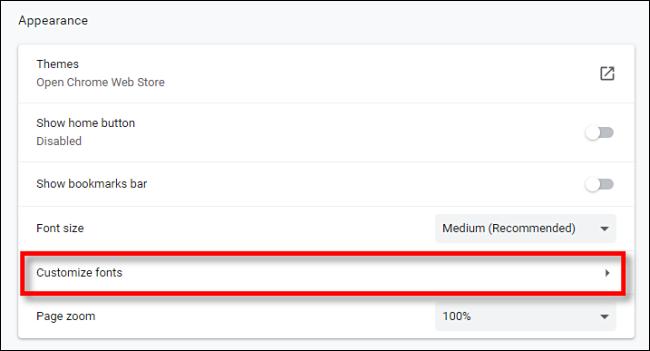Klicken Sie in den Chrome-Einstellungen auf Schriftarten anpassen