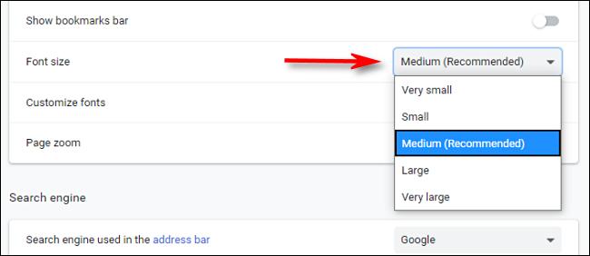 Wählen Sie in den Chrome-Einstellungen eine Standardschriftgröße aus dem Dropdown-Menü