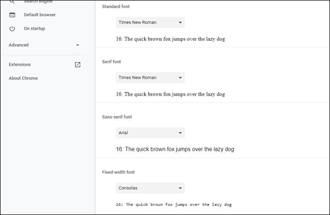 Passen Sie die Optionen für Schriftarten in Chrome an