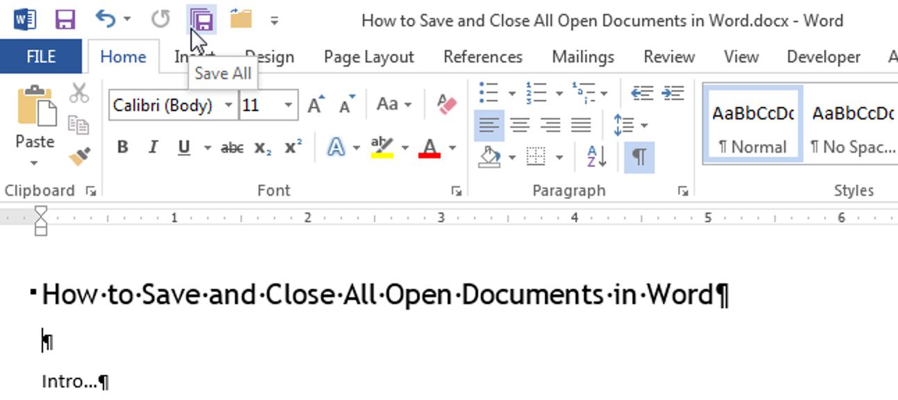 Speichern und Schließen aller geöffneten Dokumente in Word