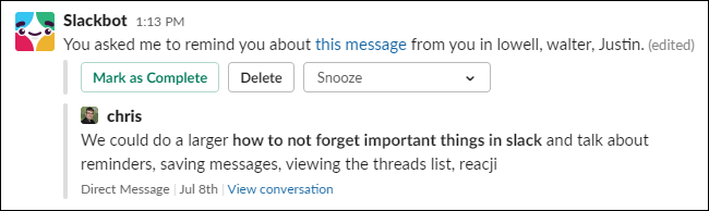 Eine Erinnerung an eine Nachricht von Slackbot.