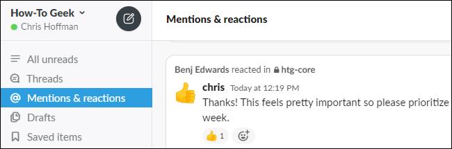 Anzeigen von Erwähnungen und Reaktionen in Slack.