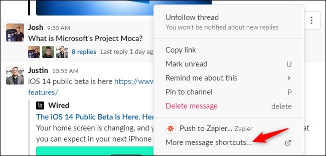 """Das """"Weitere Nachrichtenverknüpfungen"""" Option im Nachrichten-Kontextmenü von Slack."""