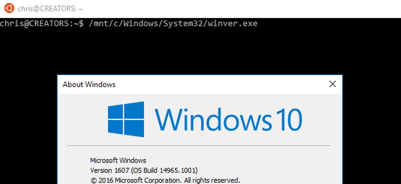 Ausführen von Windows-Programmen über die Bash-Shell von Windows 10