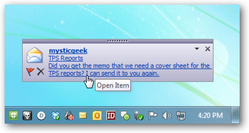 Deaktivieren Sie Desktop-E-Mail-Benachrichtigungen in Outlook 2010