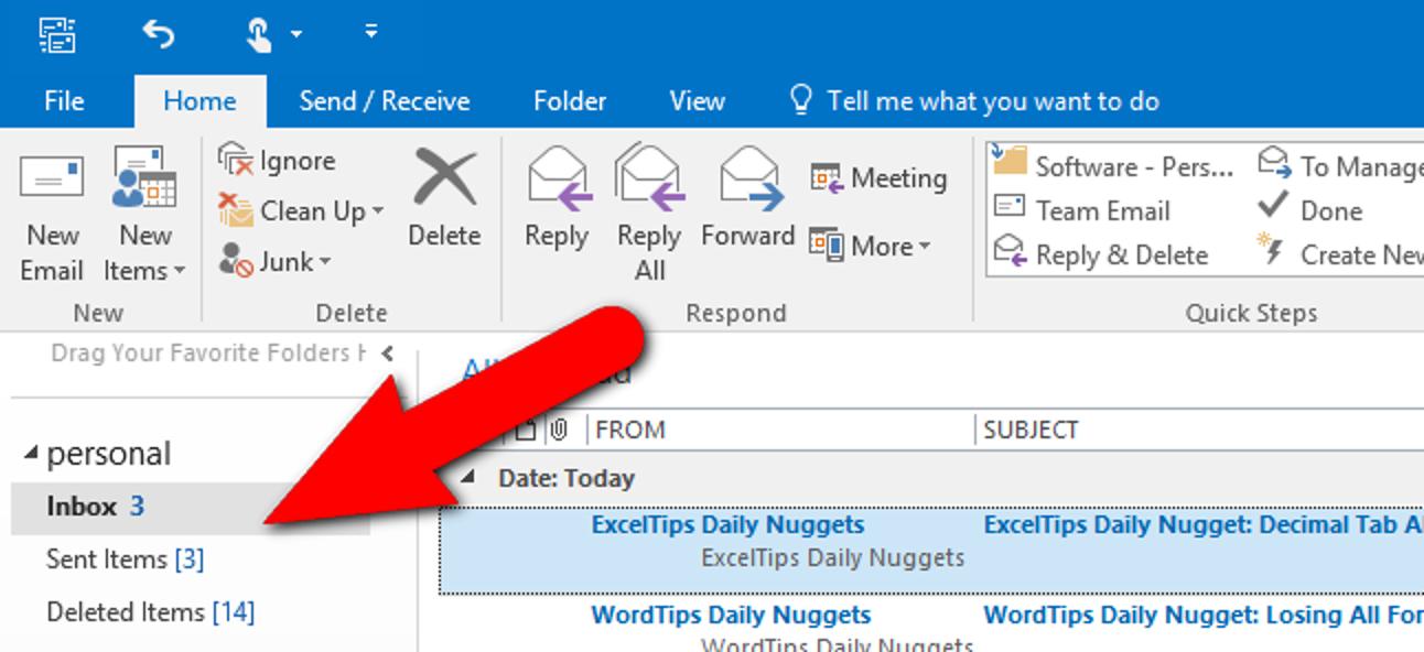 So lassen Sie Outlook die Gesamtzahl der Nachrichten in einem Ordner anzeigen