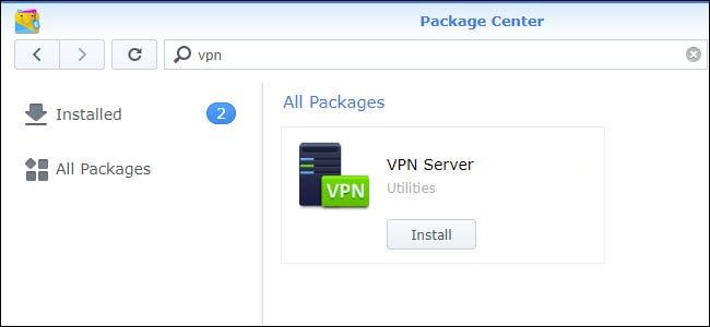 Package Center mit der VPN Server-Installation wird angezeigt.